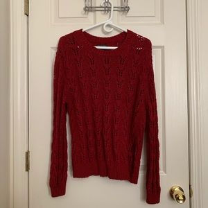 Red Crew Neck Knitted Sweater